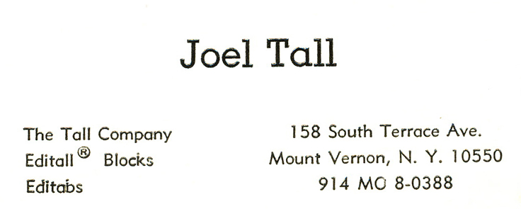 Joel Tall business card  donated the MOMSR by his daughter Benita Kaplan