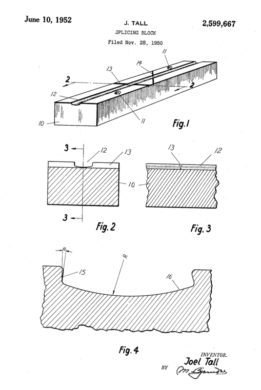U.S. Patent #US 2599667 A for Joel Tall's Splicing Block