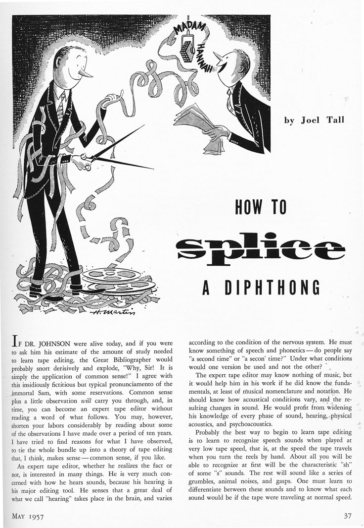 1957 Hi Fidelity splicing article by Joel Tall in theReel2ReelTexas.com vintage recording collection