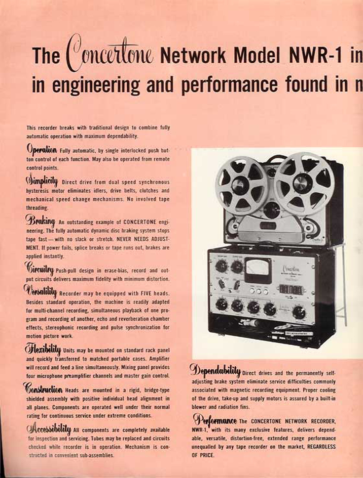 1951 ad for the Berlant Concertone  reel to reel tape recorders in the Reel2ReelTexas.com vintage recording collection