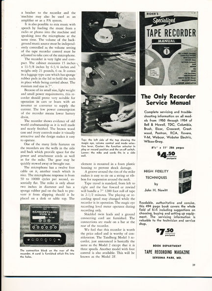 1956 Tandberg ad in the Reel2ReelTexas.com vintage recording collection