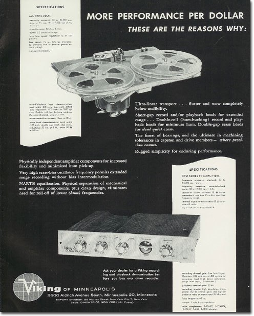 1957 ad for Viking reel to reel tape recorders in the Reel2ReelTexas.com vintage recording collection