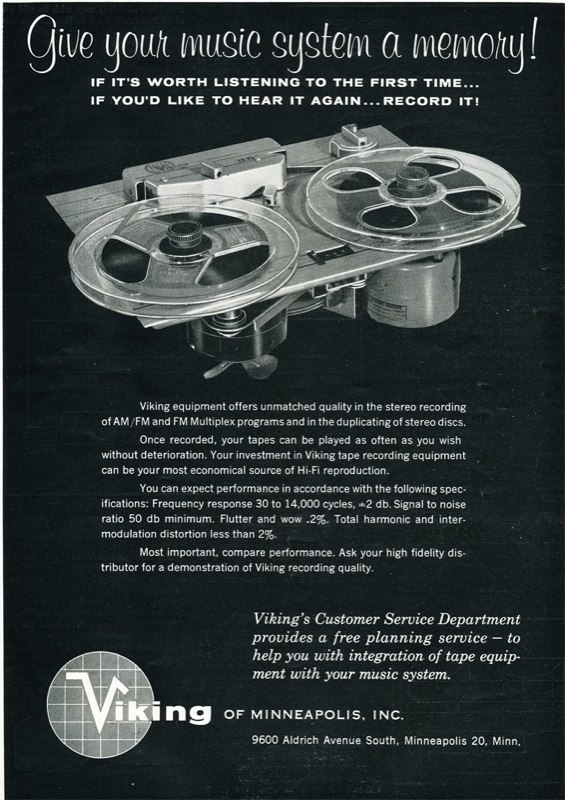 1959 ad for Viking reel to reel tape recorders in the Reel2ReelTexas.com vintage recording collection
