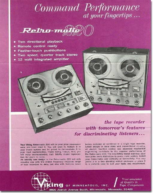 1963 ad for Viking reel to reel tape recorders in the Reel2ReelTexas.com vintage recording collection