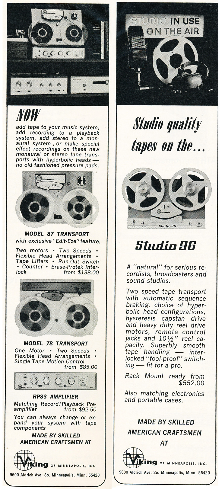 1964 ad for Viking reel to reel tape recorders in the Reel2ReelTexas.com vintage recording collection