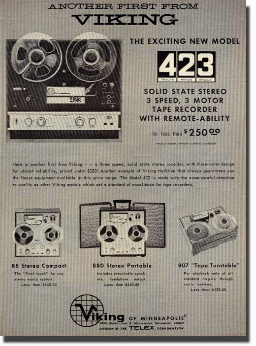 1967 ad for Viking reel to reel tape recorders in the Reel2ReelTexas.com vintage recording collection