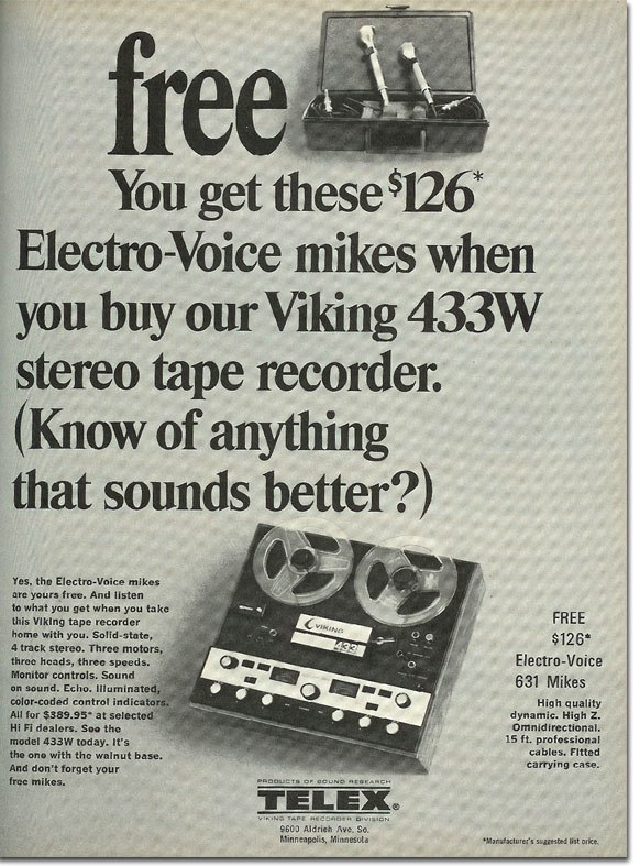 1968 ad for Telex  Viking reel to reel tape recorders in the Reel2ReelTexas.com vintage recording collection
