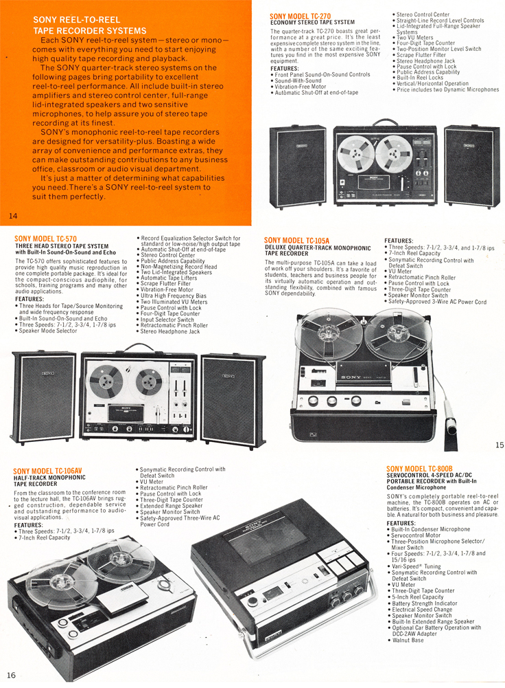 1975 Sony brochure in the Reel2ReelTexas.com's images/R2R/vintage recording collection featuring their reel to reel tape recorders including the TC-279, TC-570, TC-105A, TC-106AW and the TC-800B prtables.