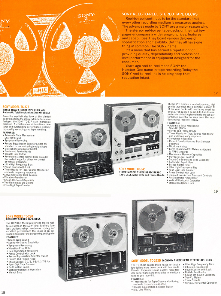 1975 Sony brochure in the Reel2ReelTexas.com's images/R2R/vintage recording collection featuring their reel to reel tape recorders including the TC-377, TC-645, TC-280 and the TC-353