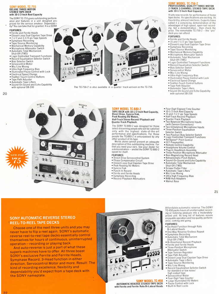 1975 Sony brochure in the Reel2ReelTexas.com's images/R2R/vintage recording collection featuring their reel to reel tape recorders including the TC-755, TC-756-2, TC-880-2 and the TC-458