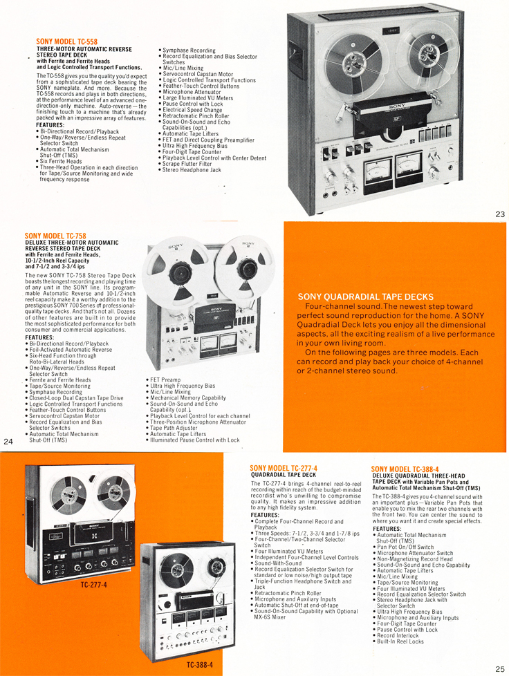 1975 Sony brochure in the Reel2ReelTexas.com's images/R2R/vintage recording collection featuring their reel to reel tape recorders including the TC-558, TC-758, TC-277-4 and the TC-388-4