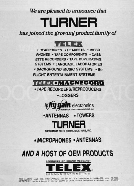 1979 ad for Telex in the Reel2ReelTexas.com vintage recording collection