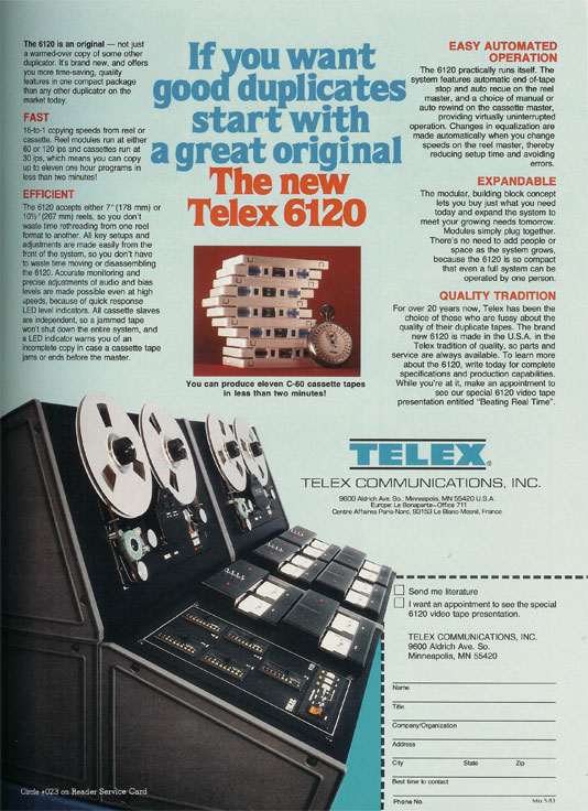 1982 ad for Telex in the Reel2ReelTexas.com vintage recording collection