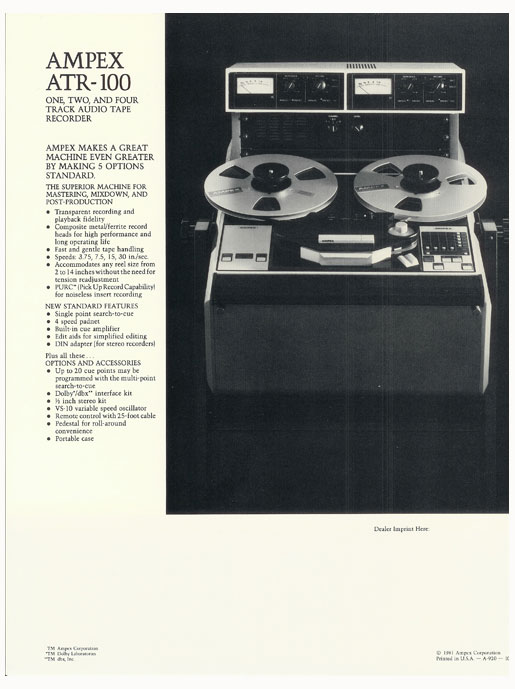 1976 Ampex ATR-100 recorder brochure in the Museum of MAgnetic Sound Recording