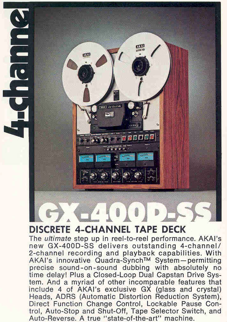 1973 ad for the Akai GX-400D-SS reel to reel tape recorder in the Reel2ReelTexas.com vintage recording collection