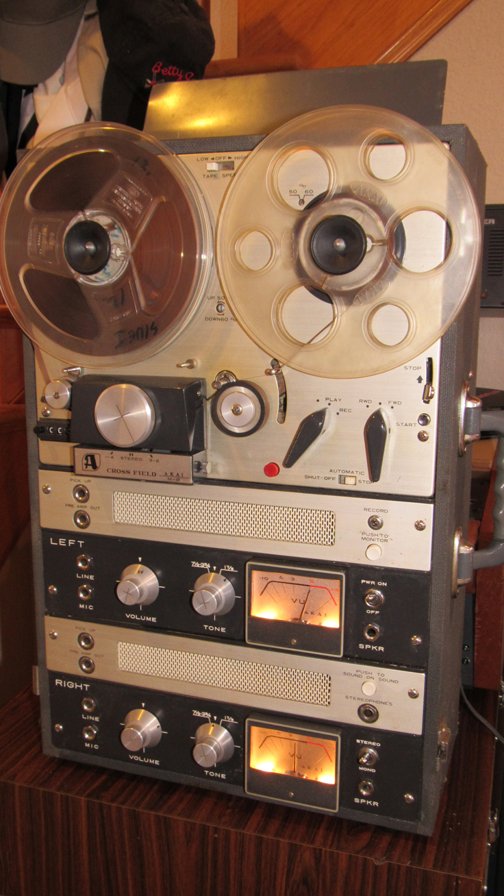 Akai M-8 reel to reel tape recorder.Donated to the Museum by Jayne & James Allen in memory of Jim and Dee Allen Holly Lake Ranch, TX