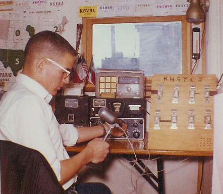 "David Forchheimer in Martin's ""ham shack"""