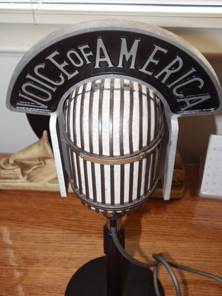 Altec 639B (1940's) microphone with Voice of America flag photos provided by Ron Hummel, Radio Producer and Vintage Microphone Collector - to the Museum of Magnetic Sound Recording