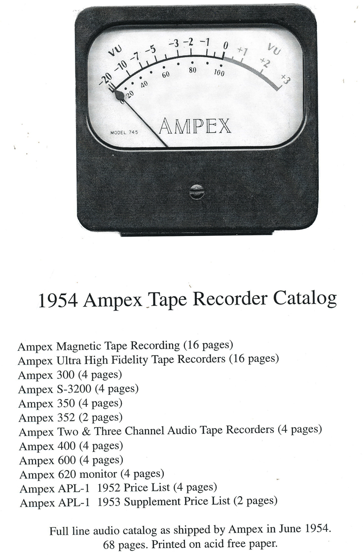 1954 Ampex Full Line Catalog in the Reel2ReelTexas.com - Museum of Magnetic Sound Recording vintage reel tape recorder recording collection