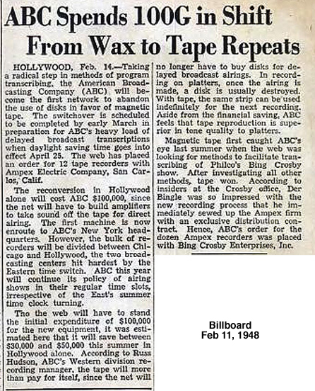 February 21, 1948 Billboard article describing ABC spending $100,000 to purchase Ampex tape recorders