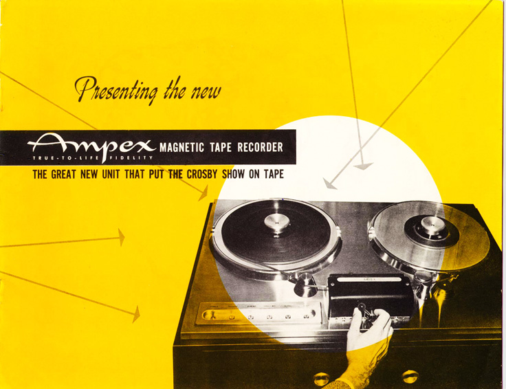 Page 1 of the 1947-1948 Ampex 200 professional reel to reel tape recorder brochure in Phantom productions' vintage recording collection