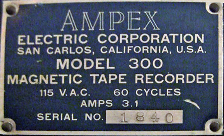 Ampex 300 reel tape recorder label in the Reel2ReelTexas.com vintage reel tape recorder recording collection