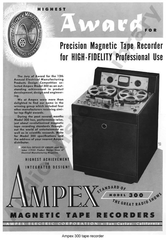 1953 proce list  for the Ampex 300 professional reel to reeel tape recorder in the Reel2ReelTexas.com vintage recording collection