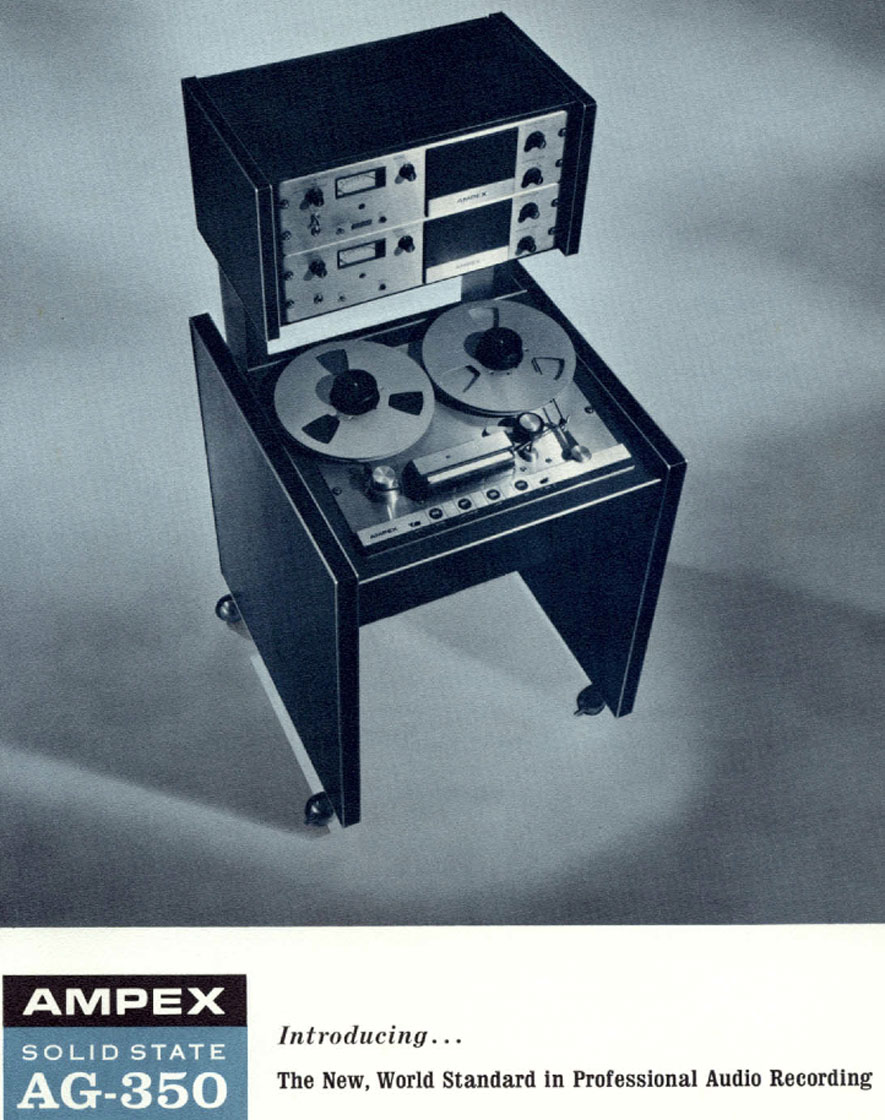 1966 ad for the Ampex 350 professional reel to reel tape recorder in the Reel2ReelTexas.com vintage recording collection