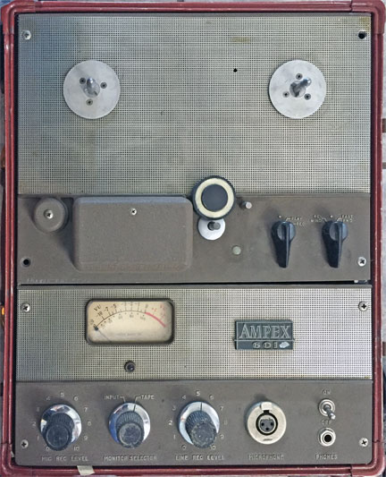 Ampex 601 reel tape recorder donated by Richard Schaaf to the Museum of Magnetic Sound Recording;svintage reel tape recorder recording collection