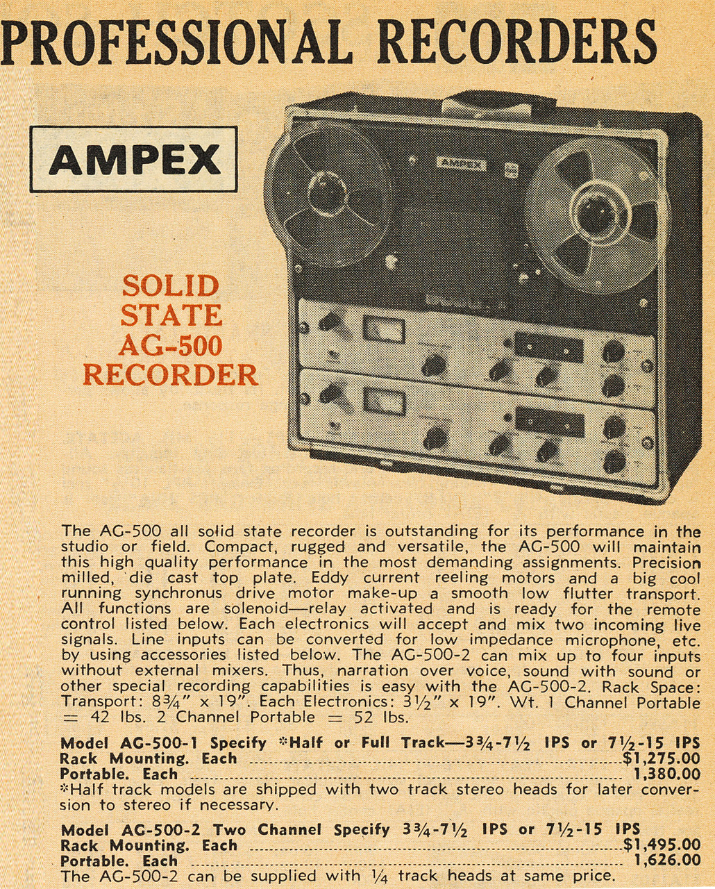 1958 ad for the Ampex AG-500 professional reel tape recorder in the Reel2ReelTexas.com vintage recording collection Museum's vintage collection