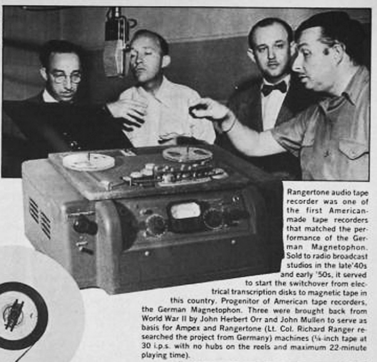 Richard Ranger presenting his reel tape recorder to Bing Crosby.  Unfortunately Ampex won the contract from Crosby.