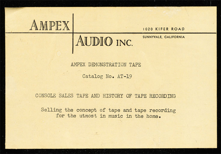1056 Ampex demo recording for the Ampex A-423 console with the Ampex A-121 reel tape recorder. Tape includes history of magnetic tape recording. From the Reel2ReelTexas.com vintage recording collection