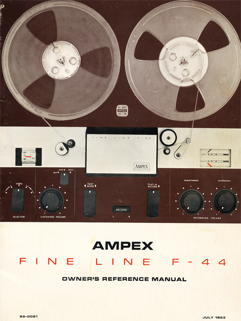 1963 ad for the Ampex F-44 Fine Line  professional reel to reel tape recorder in the Reel2ReelTexas.com vintage reel tape recorder recording collection Museum vintage collection