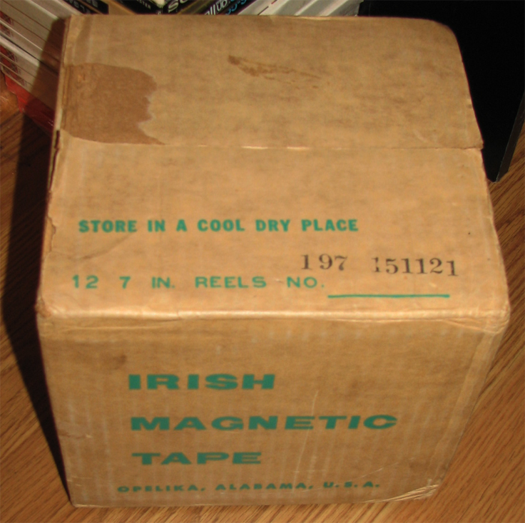 Unopened box of Ampex Irish reel to reel recording tape  in the Reel2ReelTexas vintage reel tape recorder recording collection