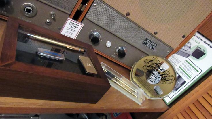 Ampex pen set, knife, money clip and Golden Reel display