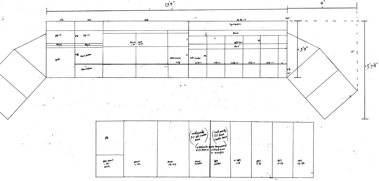 Harvey Baker's (AudioTech) early drawings as the Arlyn console