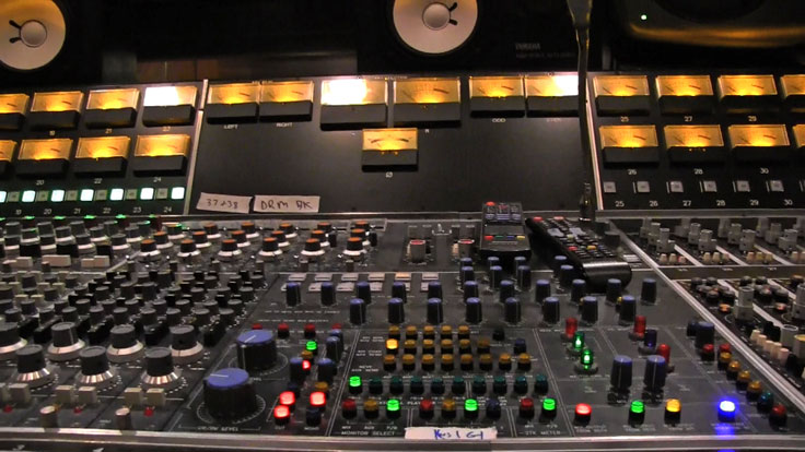 Center control panel of the API/Neve recording console at Arlyn Studios in Austin, Texas. Photo is still from video shot for the Museum of Magnetic Sound Recording