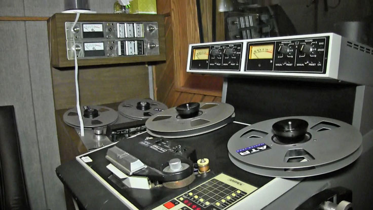 Analog reel tape recorders at the Arlyn Studios in Austin, Texas. Photo is still from video shot for the Museum of Magnetic Sound Recording