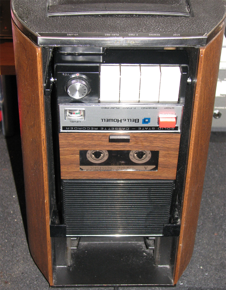 "1970 Bell and Howell Bass Boom Box cassette player with cylinder enclosure including 5"" air suspension speaker in Reel2ReelTexas.com''s vintage recording museum"