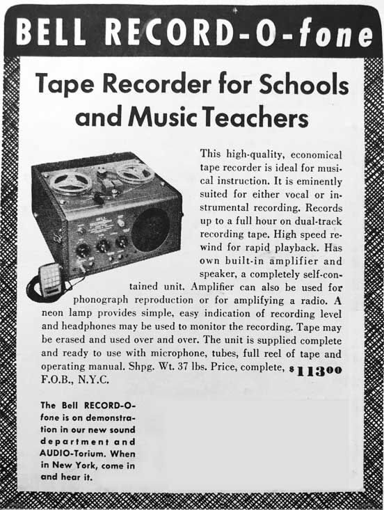 1952 ad for the Bell Record-O-Phone reel to reel tape recorder in Phantom Productions' vintage tape recording collection