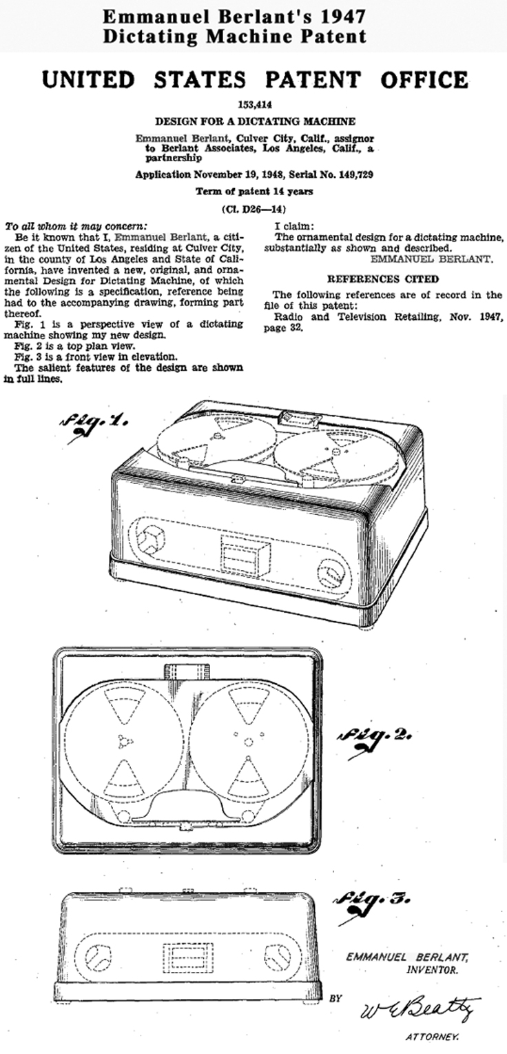 1947 Berlant tape transport patent in the Reel2ReelTexas.com vintage recording collection