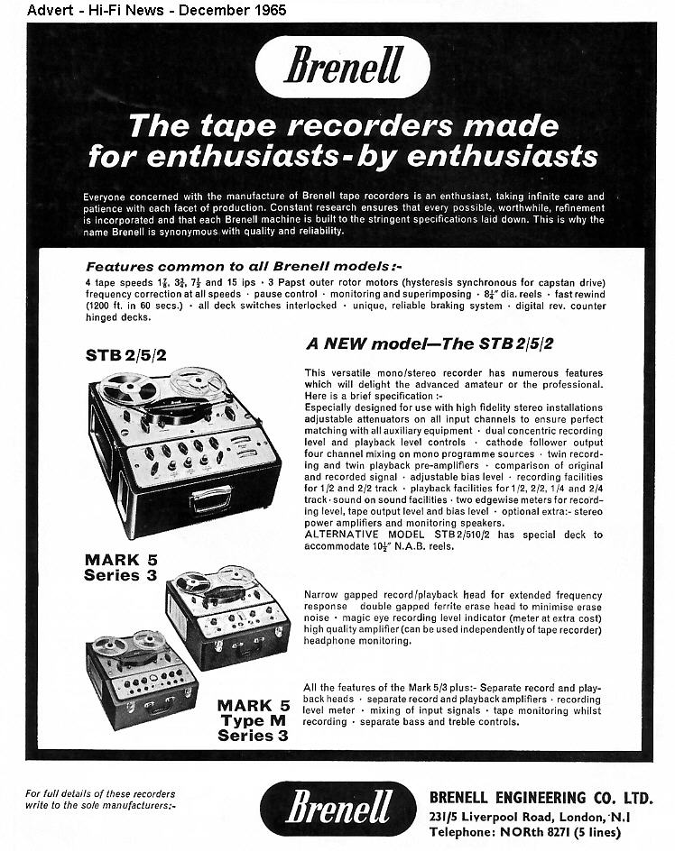 1965 ad for the Brenell Mark 5 S UK reel to reel tape recorder in the Reel2ReelTexas.com vintage reel tape recorder recording collection