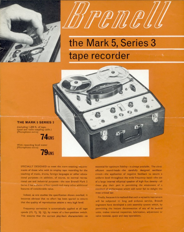 The UK Brenell reel tape recorder in the Reel2ReelTexas.com vintage reel tape recorder recording collection