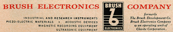 Brush Electronics Company logo manufacturer of reel tape recorders in the Reel2ReelTexas.com vintage reel tape recorder recording collection