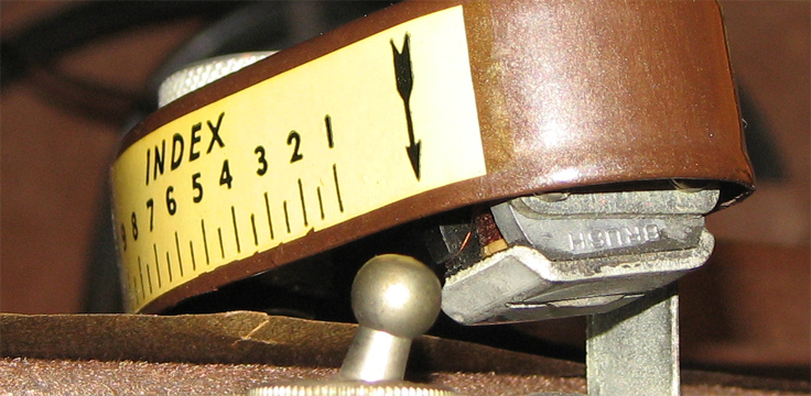 1946 Brush Mail-A-Voice magnetic recorder which mechanically works like a record player, however the phono head magnetically records onto a paper mailable disc.  this unit is in the Reel2ReelTexas.com vintage recording collection's vintage recording collection