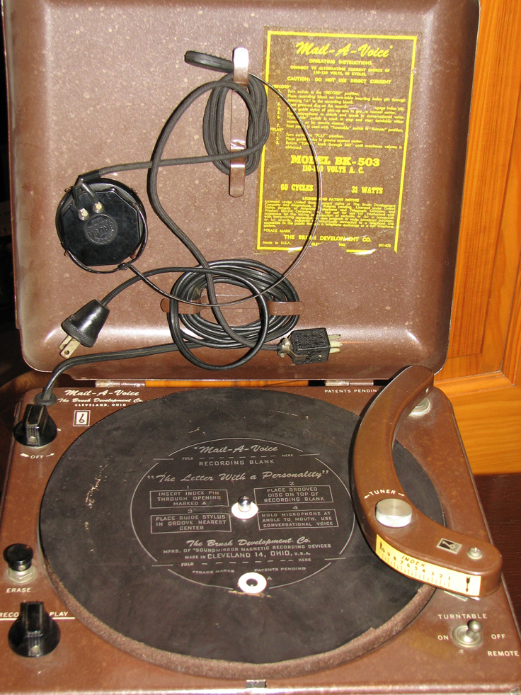 Brush Development Company's Mail-A-Voice recorder in the Reel2ReelTexas.com vintage recording collection