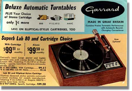 1966 ad for the Garrard Lab 80 Transcription turntable in the MOMSR /Reel2ReelTexas /Theophilus vintage reel tape recorder collection