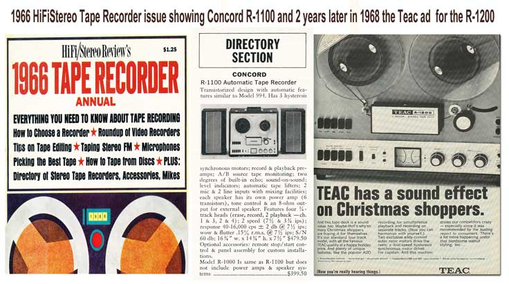 1966 listing of the Concord R-1100 in HiFiStereo tape recorder issue and same recorder released as the Teac R-1200 in a 1968 ad in the Reel2ReelTexas.com vintage reel tape recorder recording collection