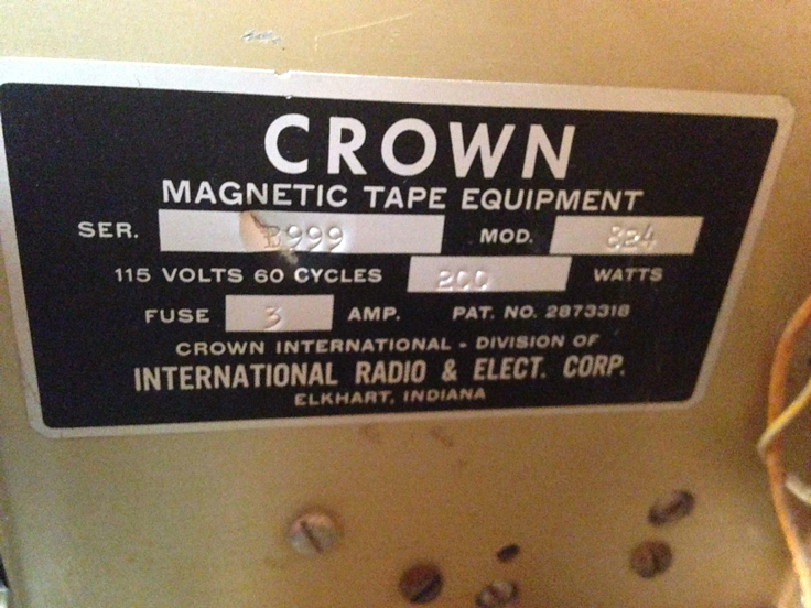 Crown 824 BX 800 professional reel to reel tape recorder photo in the Museum of Magnetic Sound Recording