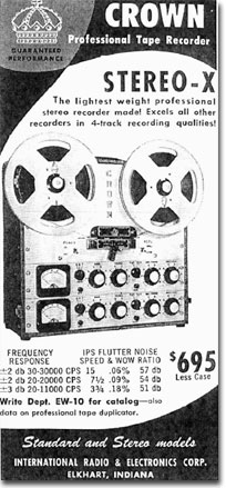 1960 Crown reel to reel tape recorder ad in the Reel2ReelTexas.com vintage recording collection